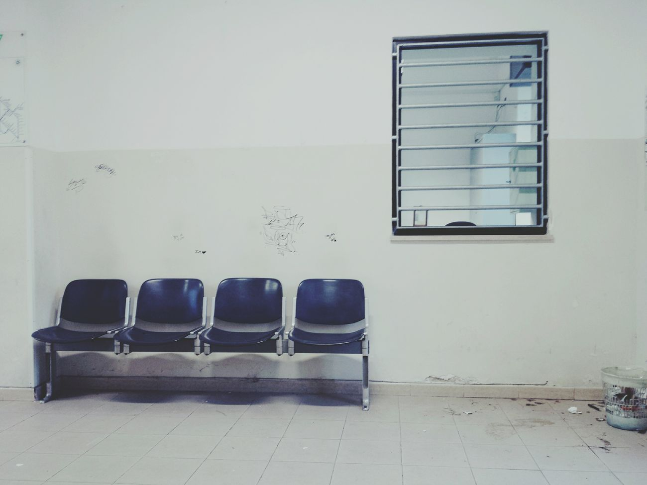 ????Train Station Empty Chairs And Empty Tables Writing On The Walls Whitewalls  Lecce