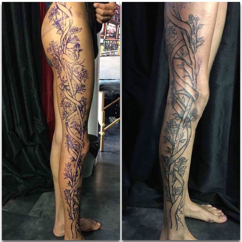 First part of A long journey !!! Lifestyles Fashionable Flowers Ink Tattoo Design Amazing Tattoos Tatted Inked Tattooed Art, Drawing, Creativity Tattoo ❤ Blackwork Tattooartist  Tattooist Tieumdekotattoo Tieumdeko Tattooshop Roses Rose🌹