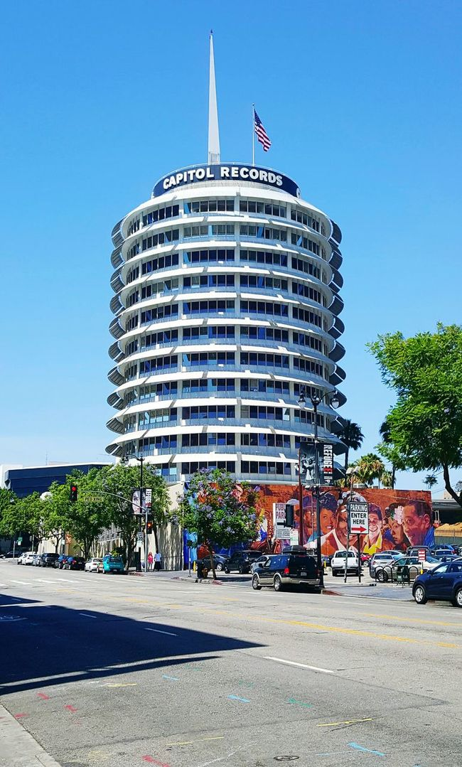 Colored In Capital Records Hollywood American Flag Building Site Levels Color Portrait Across The Street Circular Circular Architecture Floors Building Structures