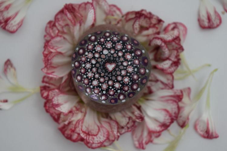 Art Carnation Close-up Day Directly Above Dotalism Flower Flower Head Fragility Freshness Heart Indoors  Love Mandala Red