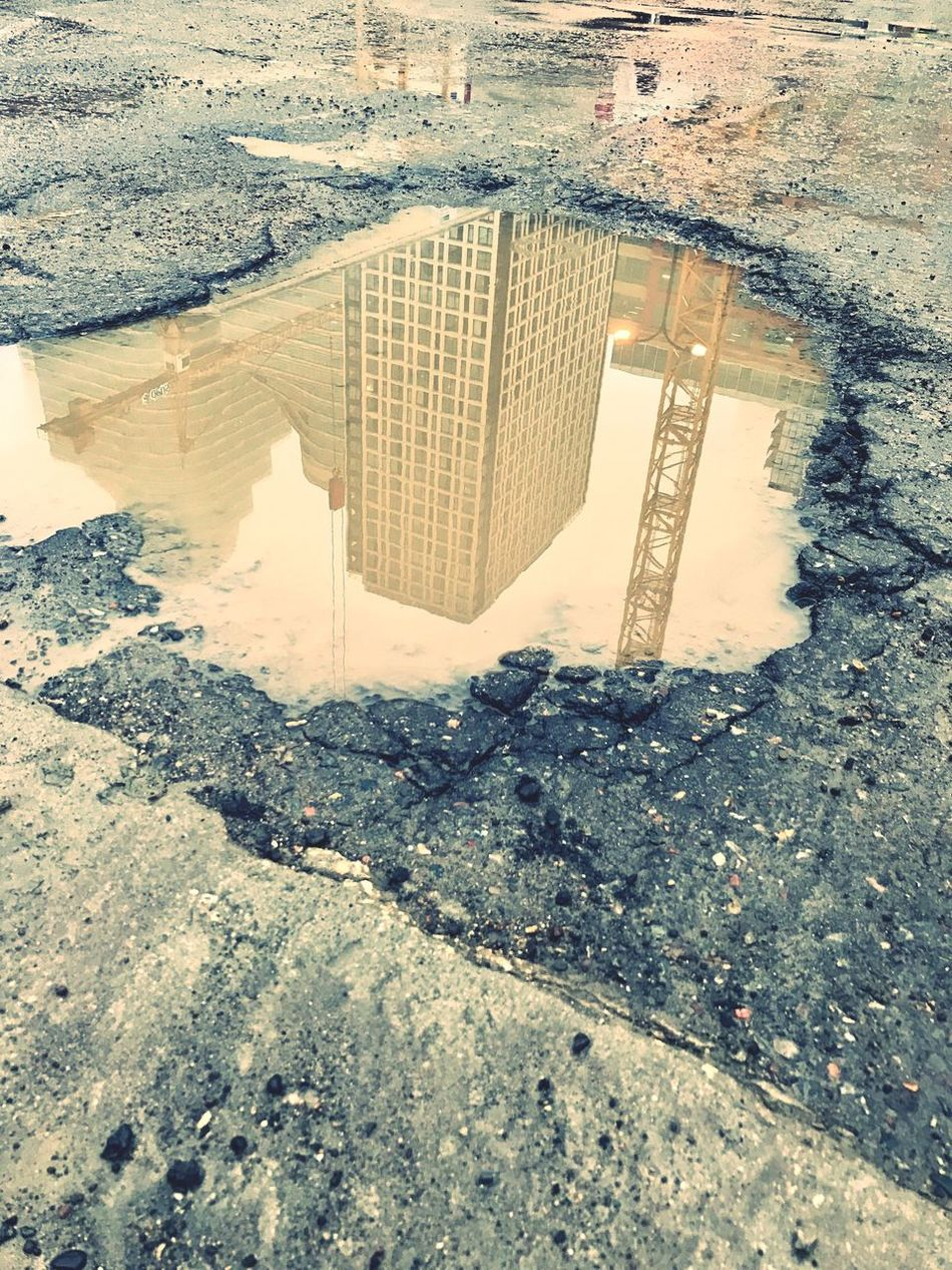 High Angle View Built Structure Architecture Building Exterior City Outdoors Day No People Water Nature Cityscape Minnesotaphotographer Puddle Potholes Blackandwhite Photography