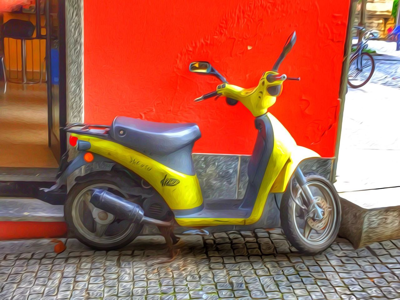 stationary, land vehicle, built structure, transportation, day, no people, outdoors, architecture, mode of transport, scooter, yellow, building exterior