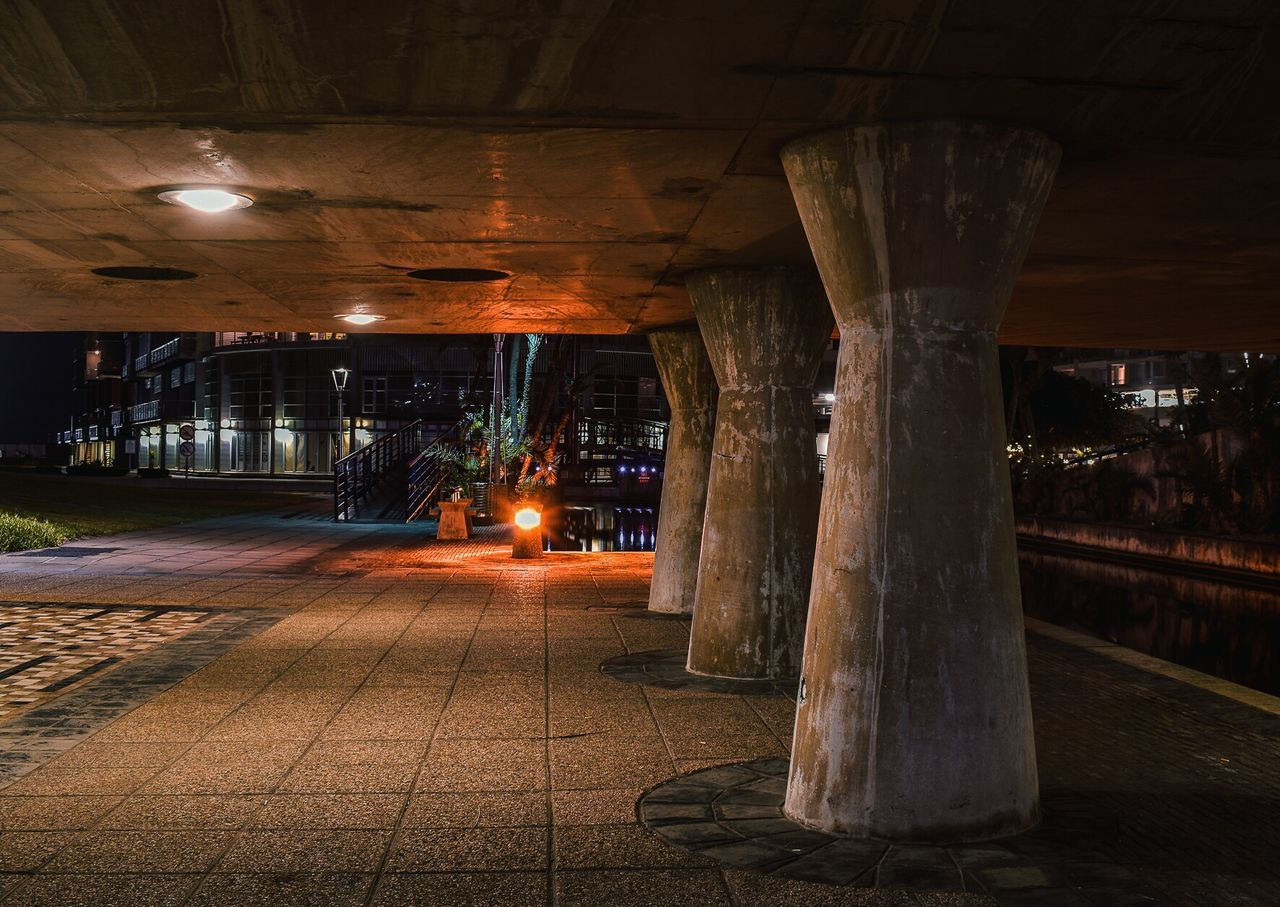 Under the bridge Illuminated Night No People City Architecture Shutter Speed