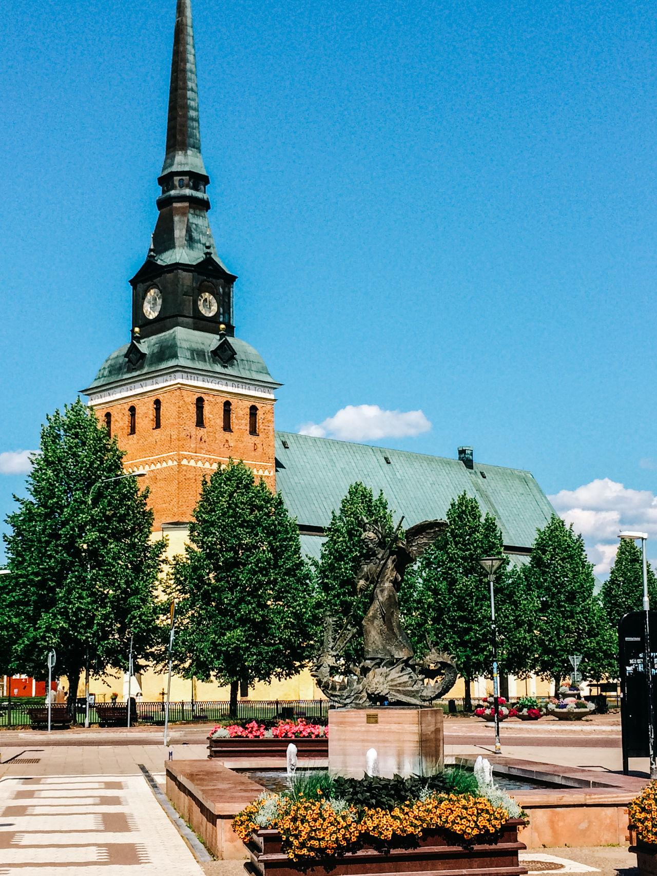 Town square and church, Mora, Sweden Architecture Building Exterior Built Structure Church Clear Sky Clock Tower Dalarna Façade Famous Place Low Angle View Outdoors Place Of Worship Religion Scandinavia Spirituality Summer Swedish Tower Town Square