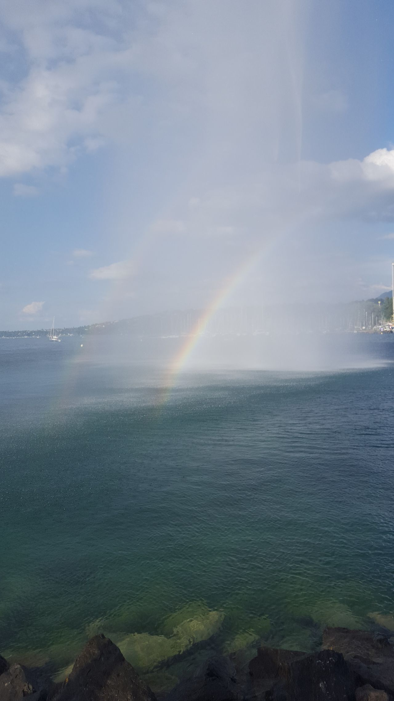 Water Beauty In Nature Scenics Nature Sea Sky Outdoors Tranquility Horizon Over Water Sunbeam Cloud - Sky No People Day Grass Double Rainbow Waterfall Lac Léman Geneve Larcenciel