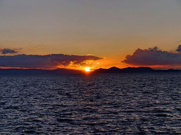 Sundown 18:34 Omura bay, HigashiSonogi On The Platform Chiwata eki, Omura Line JR Kyushu The End Of The Day Sea And Sky Beautiful Nature Landscape Lumix GX1 LUMIX G VARIO 14-45/F3.5-5.6