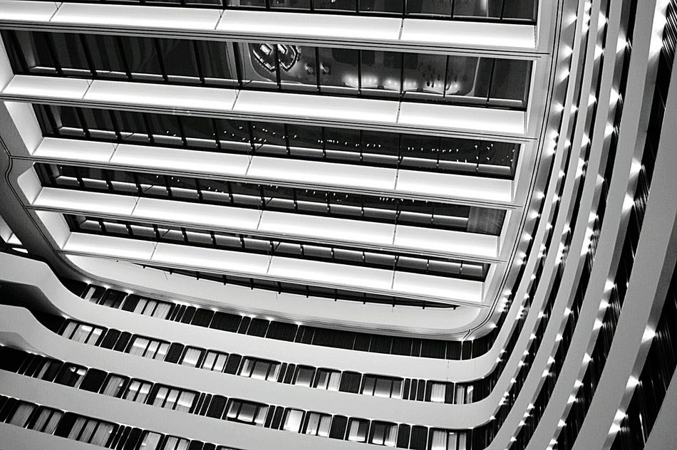 Modern Architecture in Amsterdam Modern Architecture Looking Up From My Point Of View Ceiling Ceiling Design Ceiling Reflection Lines And Shapes Lines And Lights Lines And Curves Light And Shadows Amsterdam City Hotel Airport Black & White Black And White Black And White Photography Black & White Photography Nikon D3200
