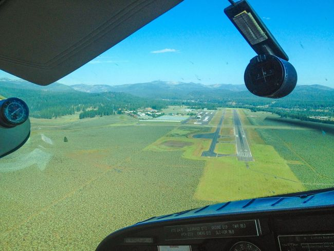 Lining Up with the Runway at the Tahoe Truckee Airport for a Landing . Aviation Flying