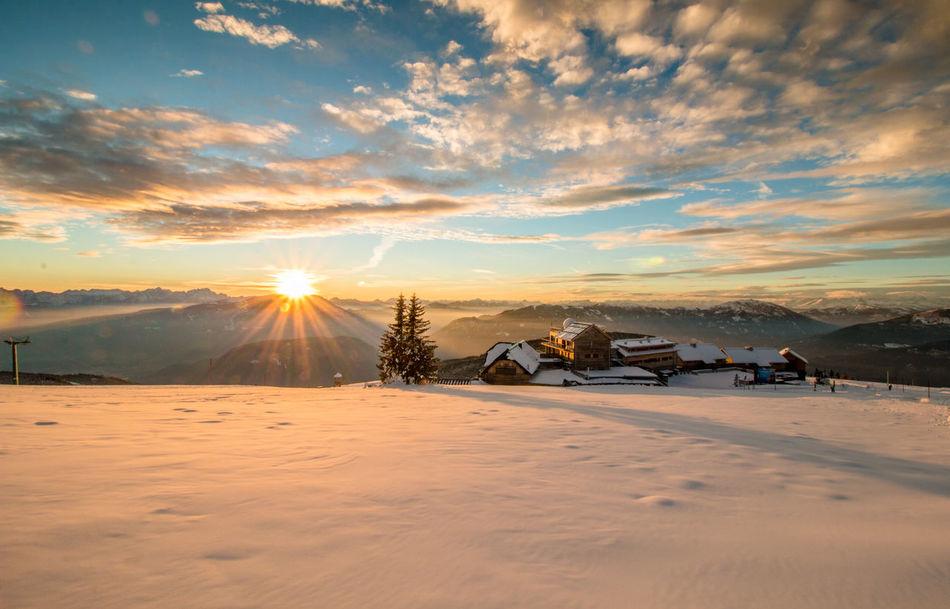 Sunset on Gerlitzen, Austria Sunset Sky Dramatic Sky Mountain Snow ❄ Snow Nature Landscape_photography No People Nature