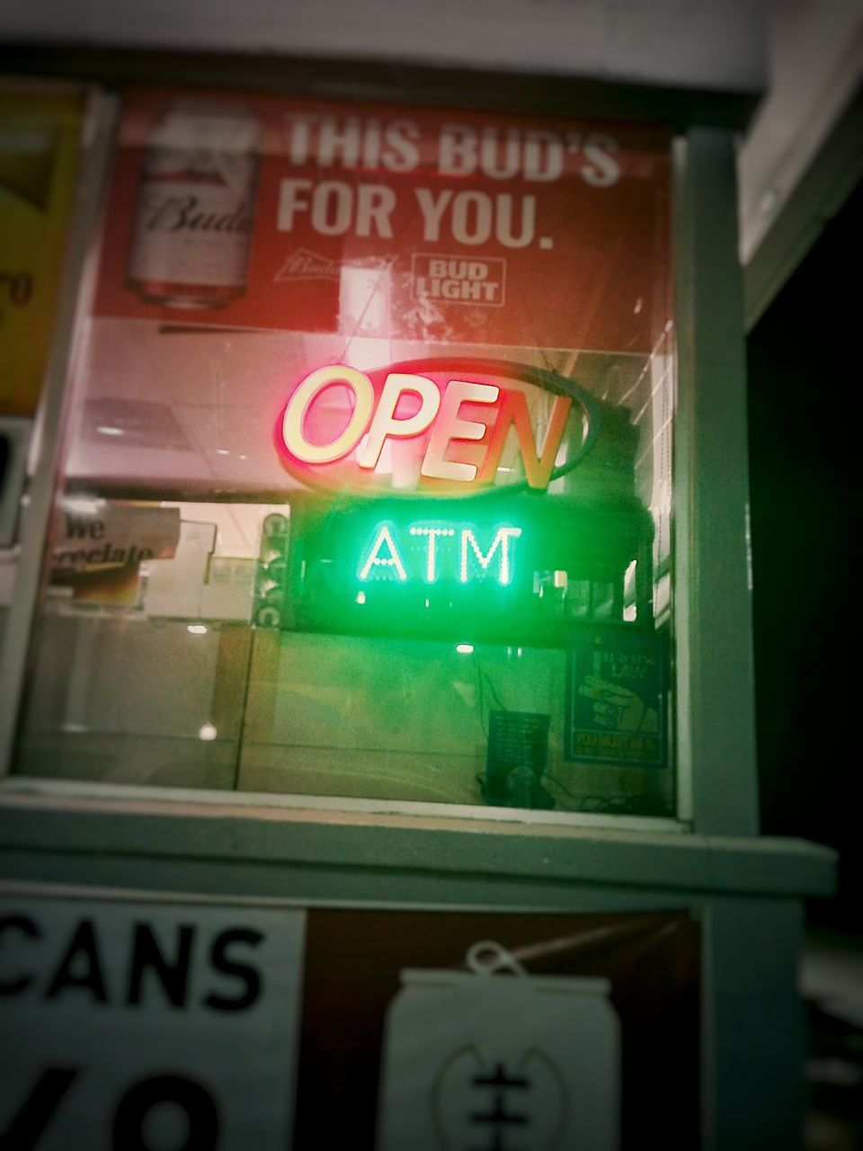text, western script, communication, green color, illuminated, no people, open sign, night, indoors, building exterior, close-up, neon