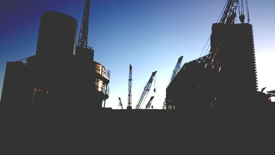 Silhouette Sky Outdoors Day Cranes Construction Site Tokyo,Japan Toyosu