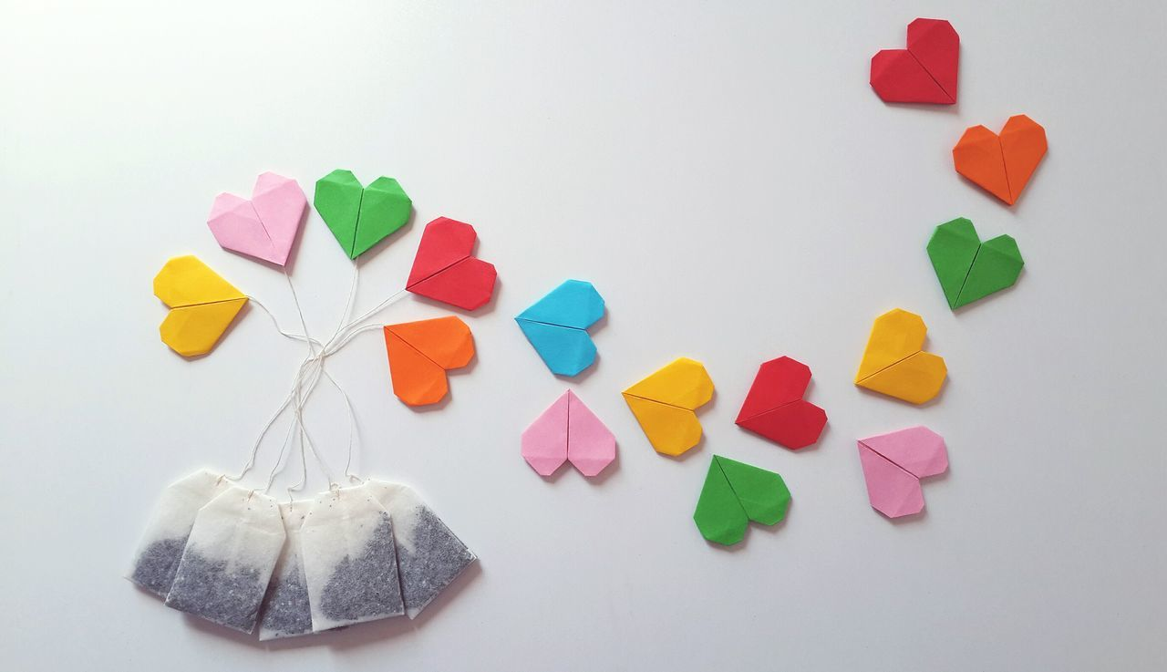 Still Life White Background Pattern Pieces Design Multi Colored Teabags Origami Tea Getting Inspired Tea Bags Heart Shape Paper View Paper Colours Ideas Colors Cute Arrangement White Album Pattern Copy Space Getting Creative Simplicity EyeEm Best Edits Eye4photography