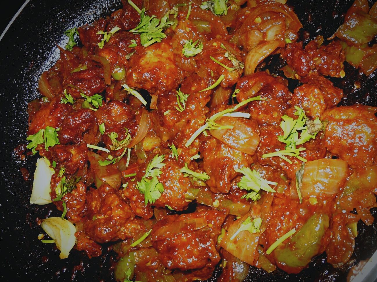 What could be better than juicy fiery chilly chicken with coriander leaves?Food Porn Awards Check This Out Enjoying Life Hanging Out Taking Photos