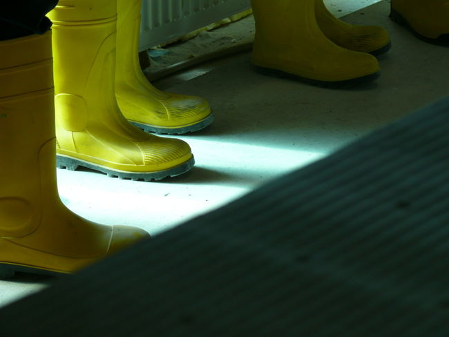 Close-up Construction Site Elbe River Hamburg Light And Shadow Philharmonie Rubber Boots Standing Yellow