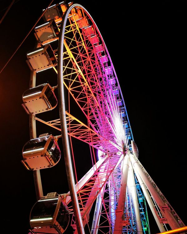 Atlanta, Georgia Ferriswheel Rainbowlights Pink Yellow Blue