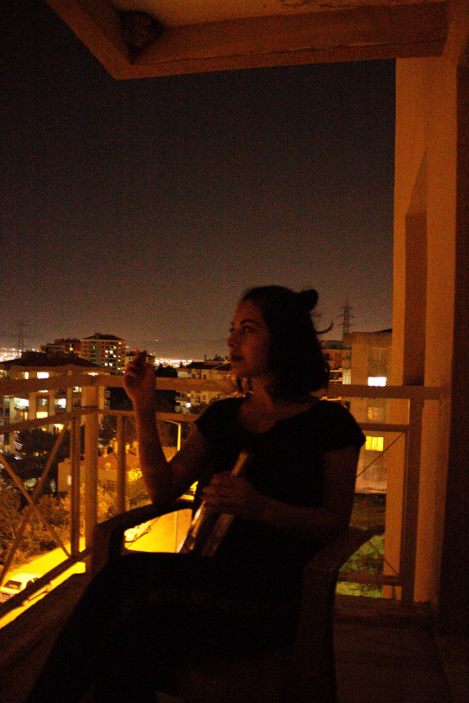 Night One Person Real People Lifestyles People Sky Balcony With A View