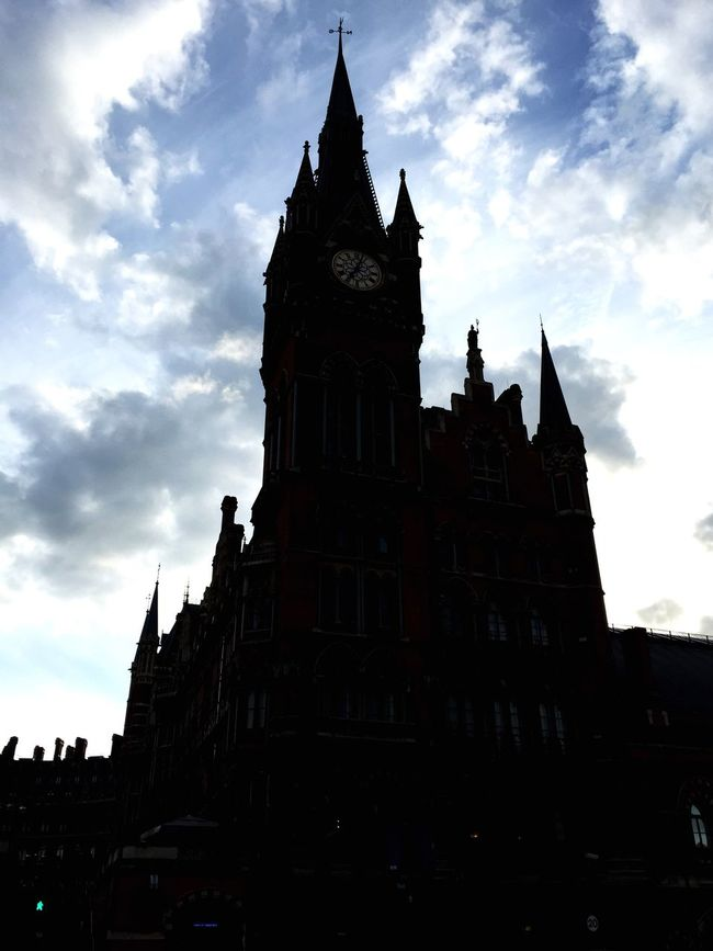 St. Pancras at sunset The Traveler - 2015 EyeEm Awards Urban Landscape Silhouette Sunset Church Check This Out Hanging Out Clouds And Sky Architecture Monuments