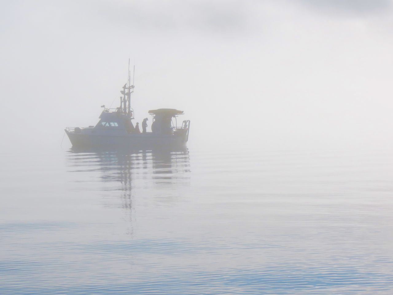 Fishing Boat Calm Fishing Boat Fog Foggy Gillnet Idyllic Nature Nautical Vessel No People Outdoors Rippled Sillouette Sky Tranquil Scene Water