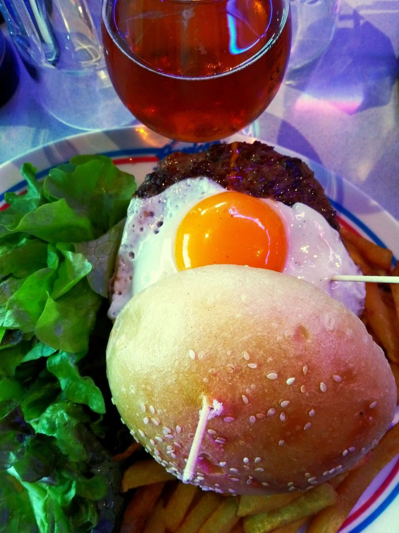 Egg Food And Drink Food Indoors  Ready-to-eat Freshness No People Healthy Eating Table Plate Egg Yolk Serving Size Meal Close-up Day Hamburger Restaurant American Dream United States American Junk Food Calories Salad Beer Pleasure