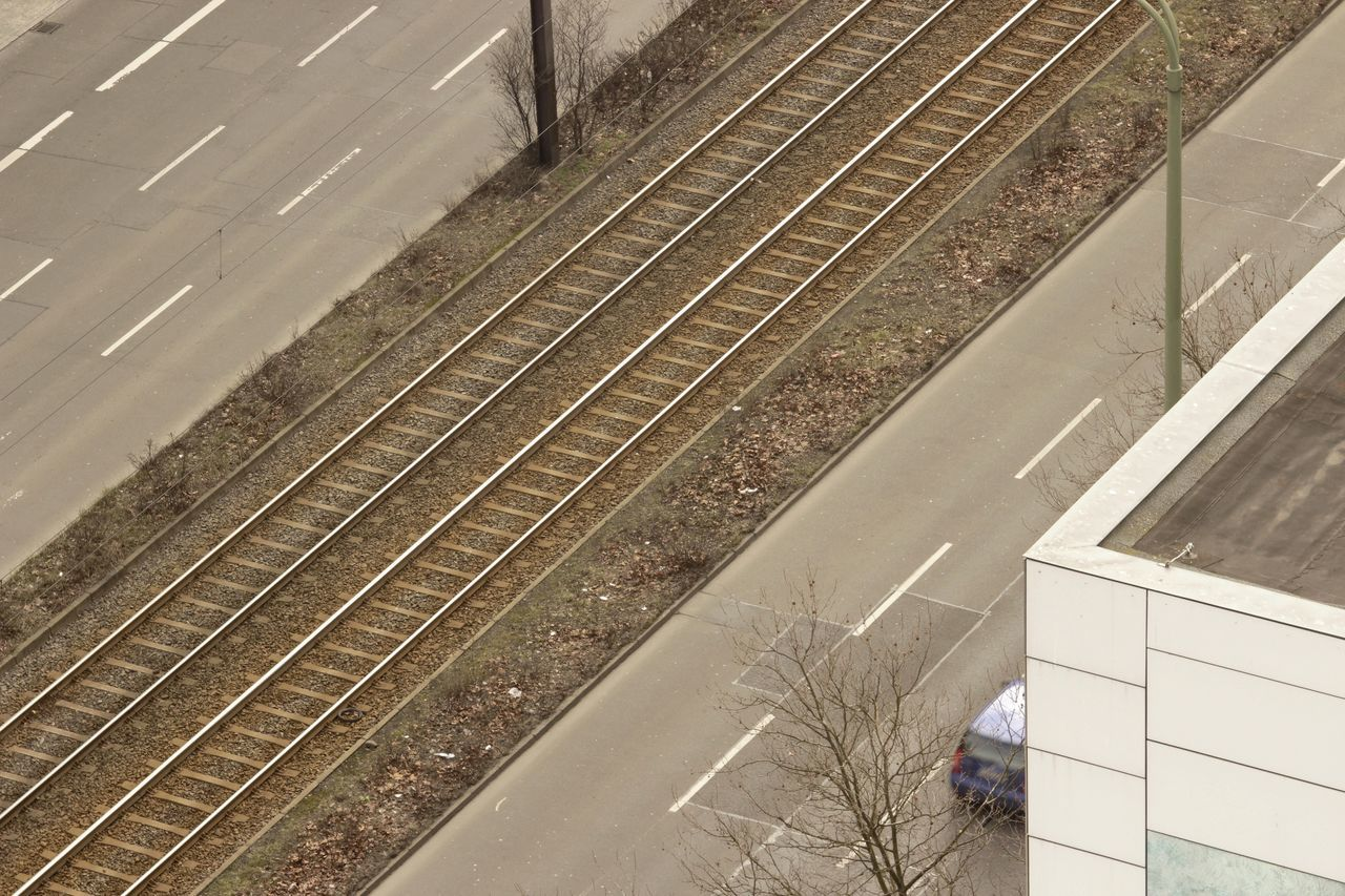 High Angle View Transportation No People Outdoors Day Berlin, Germany  Street Rails