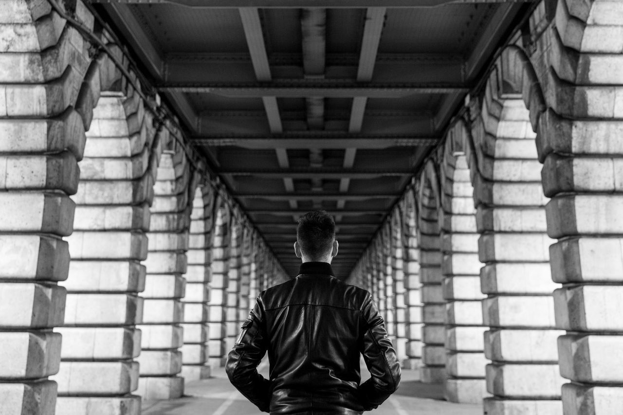 walk on by Architecture Below Blackandwhite Bridge - Man Made Structure Built Structure Day Fashion Indoors  Leather Jacket Lifestyles Light And Shadow Man Men Model Night One Person Paris People Perspective Real People Rear View Standing Streetphotography The Way Forward Walking The Photojournalist - 2017 EyeEm Awards The Portraitist - 2017 EyeEm Awards Let's Go. Together.
