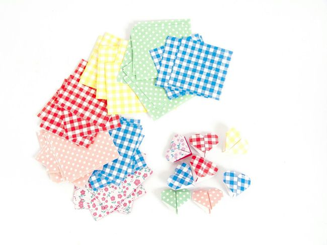 Origami Hearts Folded Paper Hearts Folded Paper Pattern Paper Craft Handmade