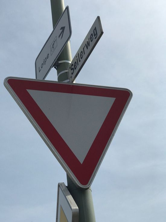 Road Sign Communication Guidance Low Angle View Sky Close-up No People Day Outdoors Arrow
