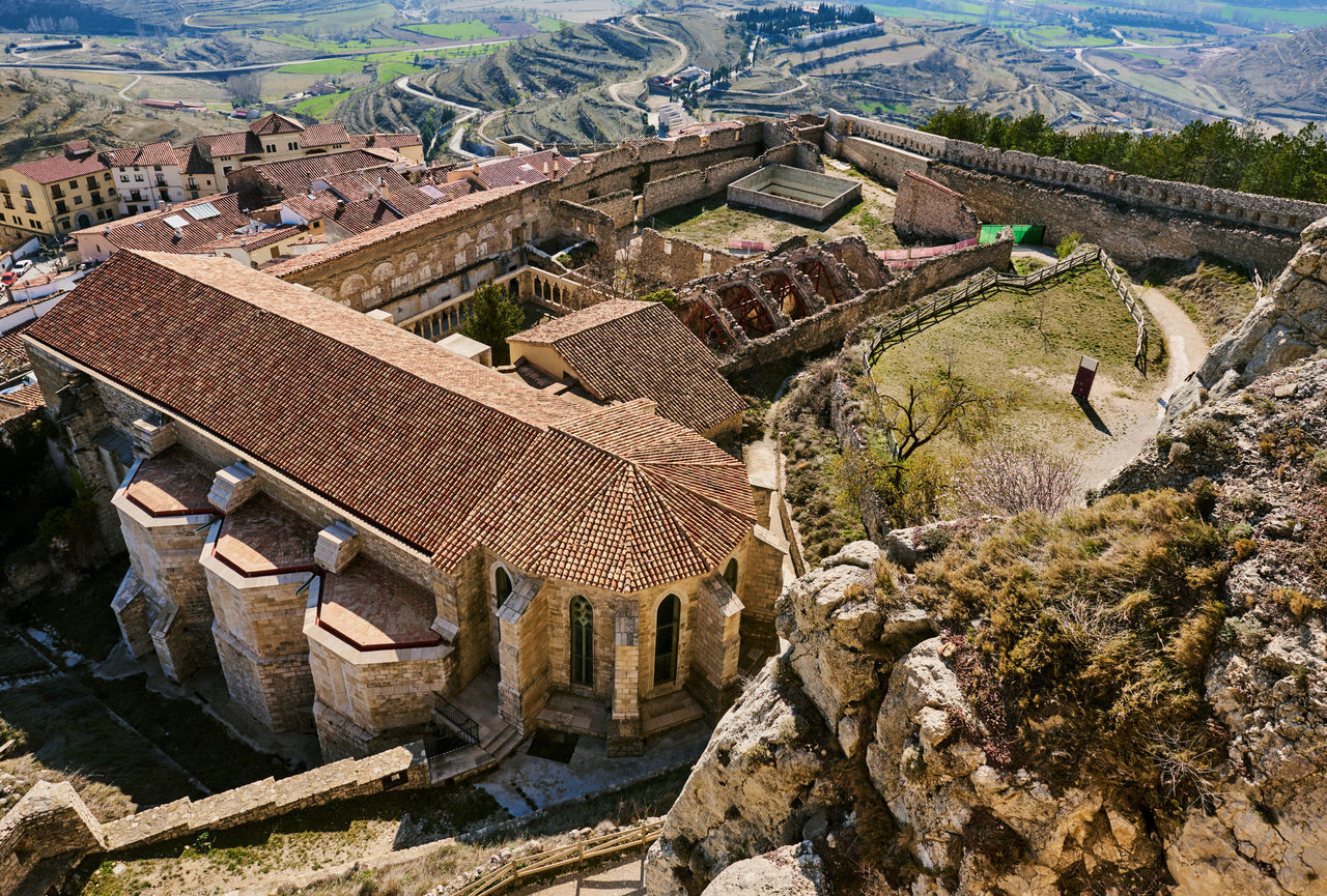 Castle of Morella. Morella Castle was declared a monument of artistic and historical importance. Province of Castellon, Valencian Community, Spain. Above Ancient Architecture Arabic Architecture Architecture Castellón Castle Countryside Day Europe Fortification Gothic Architecture History Landmark Landscape Maestrazgo Medieval Architecture Monument Morella National Landmark Nature Outdoors Sightseeing SPAIN Tarragona Travel Destinations
