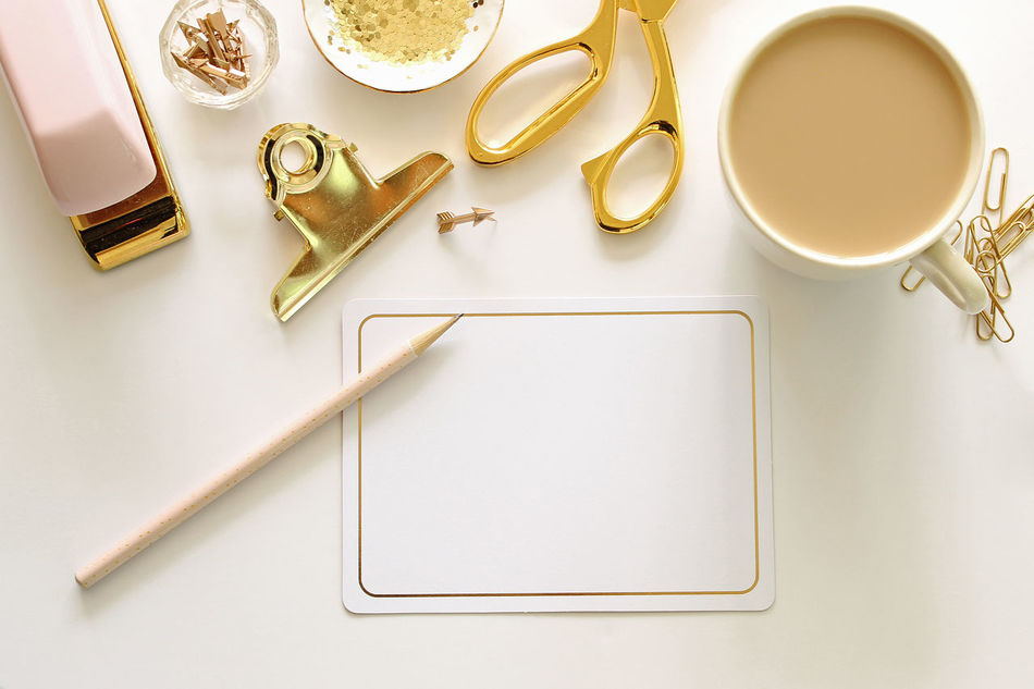 Write it down Coffee Desk Top Gold Colored Letter Writing Notes Office Office Supplies Over Head Stationary Study Time Work