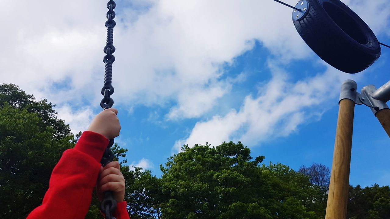 Human Body Part Tree Human Hand People Cloud - Sky Sky One Person Outdoors Blue Close-up Low Angle View Park Childs Hands Playing Zip Wire Tyre Having Fun