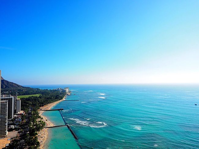 Sea Horizon Over Water Blue Beauty In Nature Clear Sky Nature Outdoors Sky Day Beach Hawaii Waikiki Waikiki Beach Honolulu  Travel Travelers Traveling Olympus Om-d E-m10