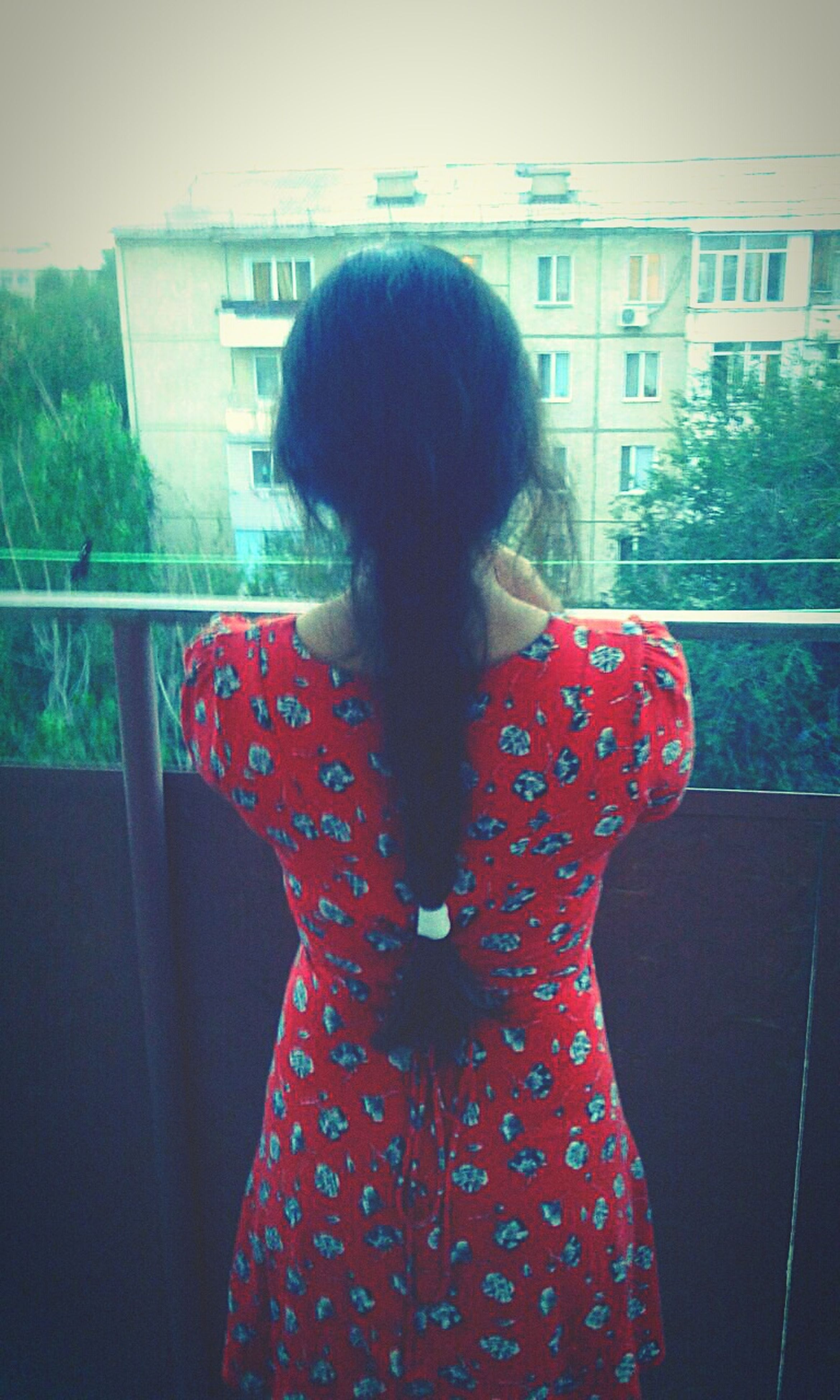 rear view, person, waist up, balcony, long hair, casual clothing, young adult, red, domestic life, human hair