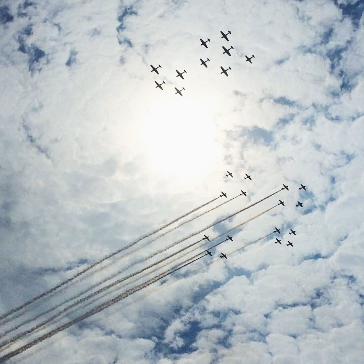 Eaa Airplane Jet Clouds Formation Figure Plane Sky Pilot