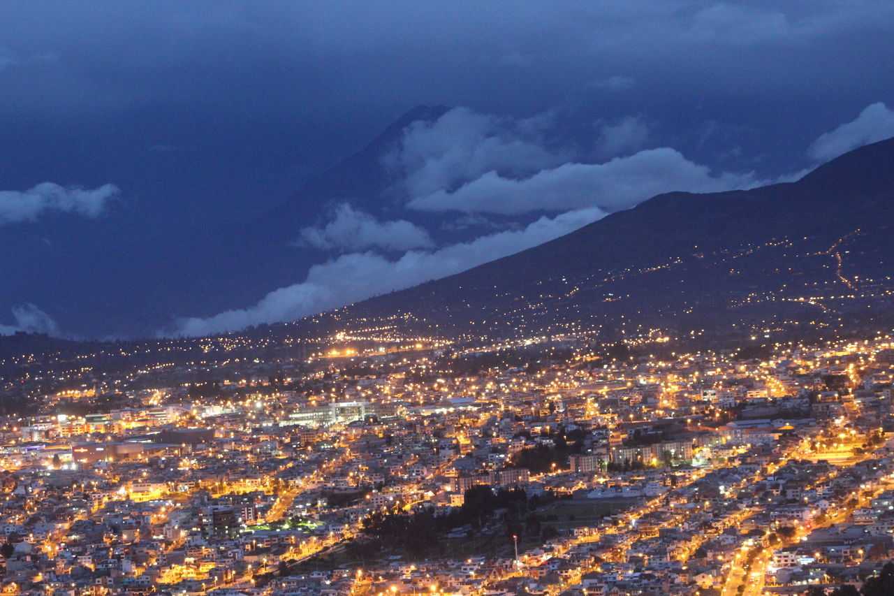 More than 2500 meters above sea level, is the fifth biggest city in Ecuador. Ambato land of flowers and fruits. Aerial View Ambato Architecture Building Exterior Built Structure City Cityscape Cloud - Sky Crowded Ecuador High Angle View Illuminated Landscape Latinoamerica Lights Mountain Mountain Range Nature Night Residential District Residential Structure Scenics Sky Tungurahua Volcán
