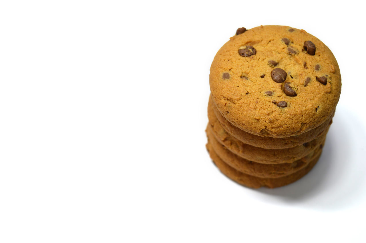 Chocolate chips cookies isolated on white Anthropomorphic Smiley Face Bake Biscuit Breakfast Brown Calories Close-up Cookies Delicious Dessert Food Food And Drink Fresh Freshness Handmade Homemade No People Snack Studio Shot Sweet Food Temptation White Background