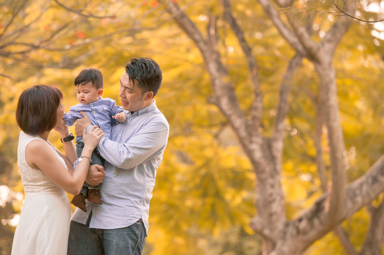 Chinese Family ASIA Asian  Asian Family Autumn Bonding Chinese Day Family Father Focus On Foreground Happiness Leisure Activity Lifestyles Love Men Mid Adult Mid Adult Men Nature Outdoors Park - Man Made Space Real People Son Standing Togetherness Tree