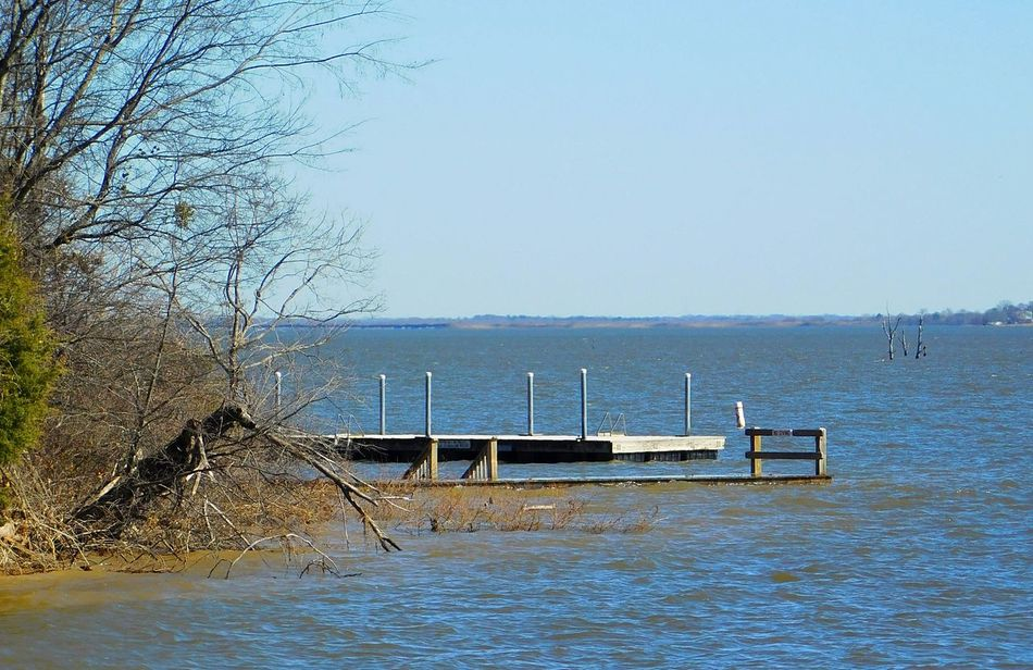 Lake View Pier Waterfront Water Lakes  Sunny Day