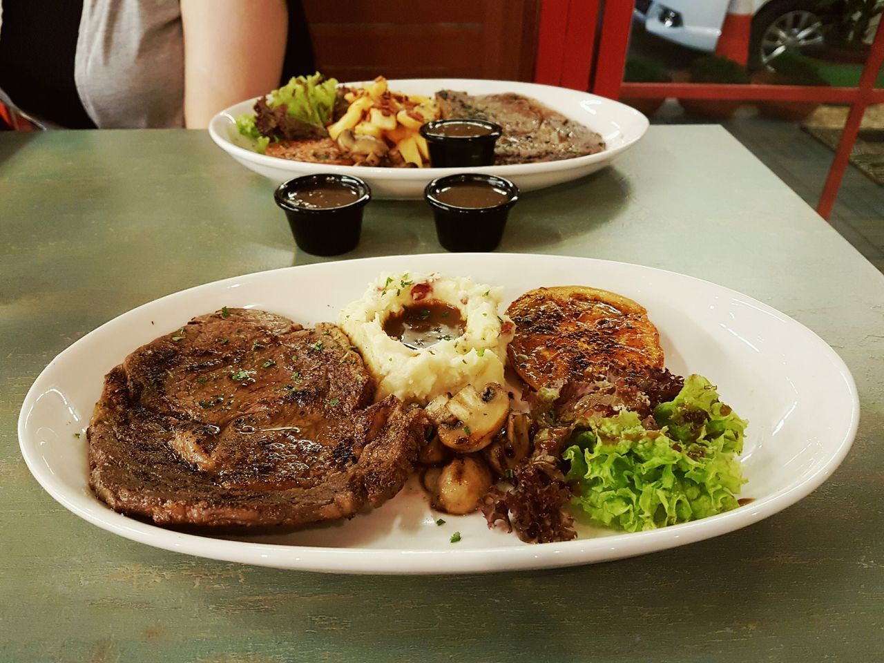 plate, food, food and drink, ready-to-eat, serving size, meat, freshness, table, healthy eating, indoors, meal, vegetable, bowl, indulgence, temptation, no people, close-up, serving dish, mashed potatoes, fried chicken, beef, day