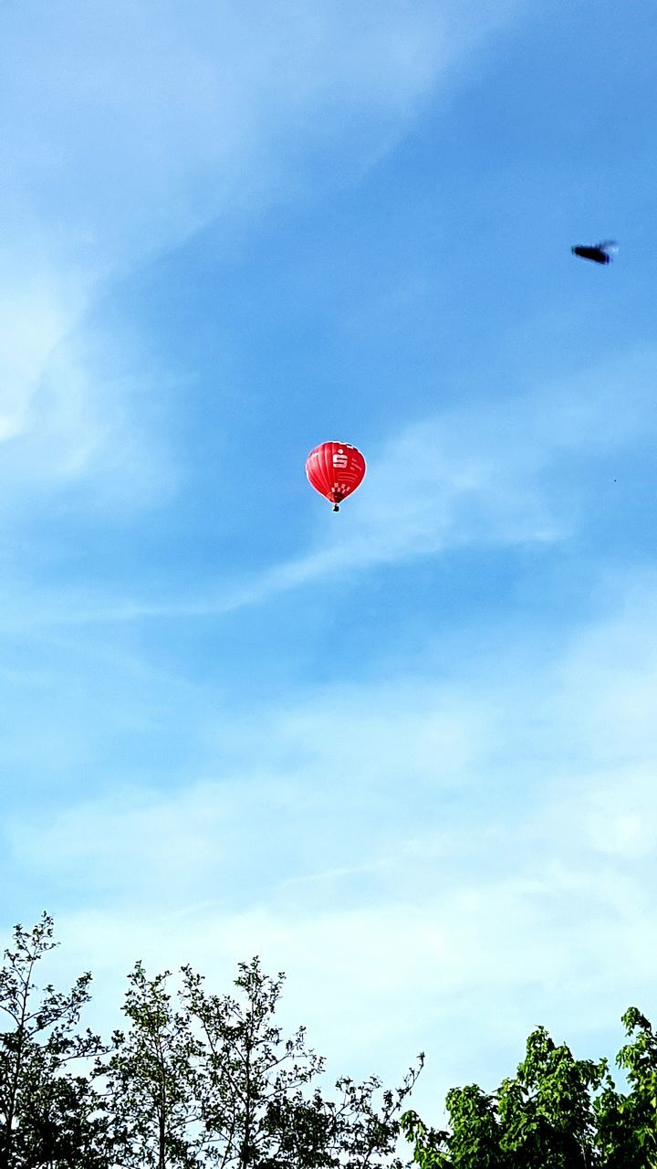 mid-air, red, flying, tree, low angle view, sky, day, nature, blue, outdoors, hot air balloon, no people, beauty in nature