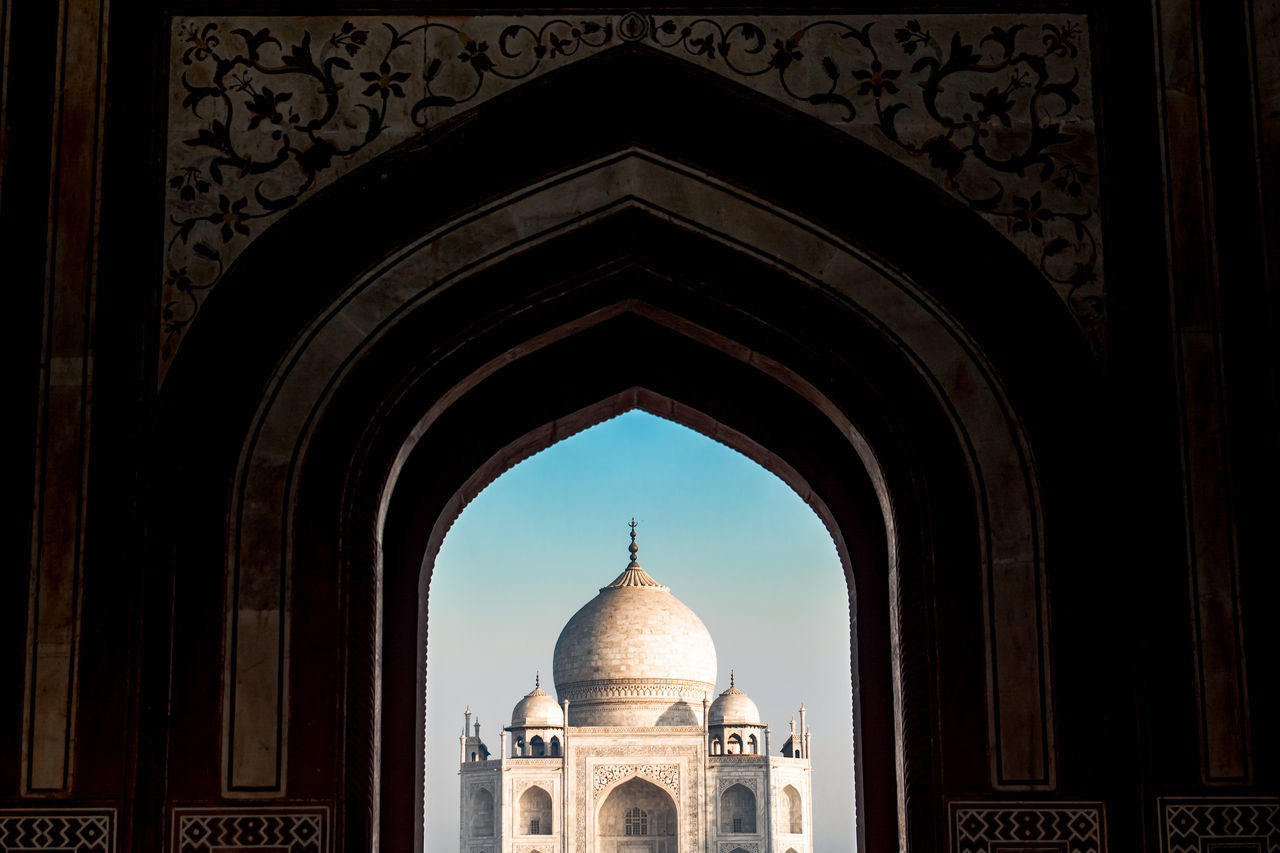 Arch Architecture Astonishing Beautiful Day Dome Famous Place Historical Building History India Marble Mausoleum Misty Morning Monument Muslim No People Ornaments Religious  Sky Taj Mahal Tourism Travel Travel Destinations Twilight Wonders Of The World