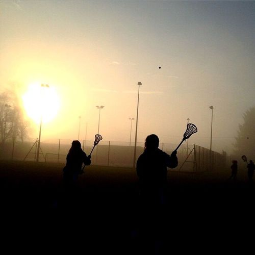 EyeEmNewHere Real People Sunset Silhouette Holding Playing Leisure Activity Outdoors Nature Sky Day Women Lacrosse Scotland Lacrosse Perth