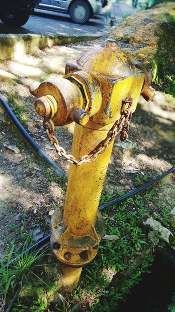 Day Yellow No People High Angle View Outdoors Close-up Nature Fire Hydrant Old Rusty