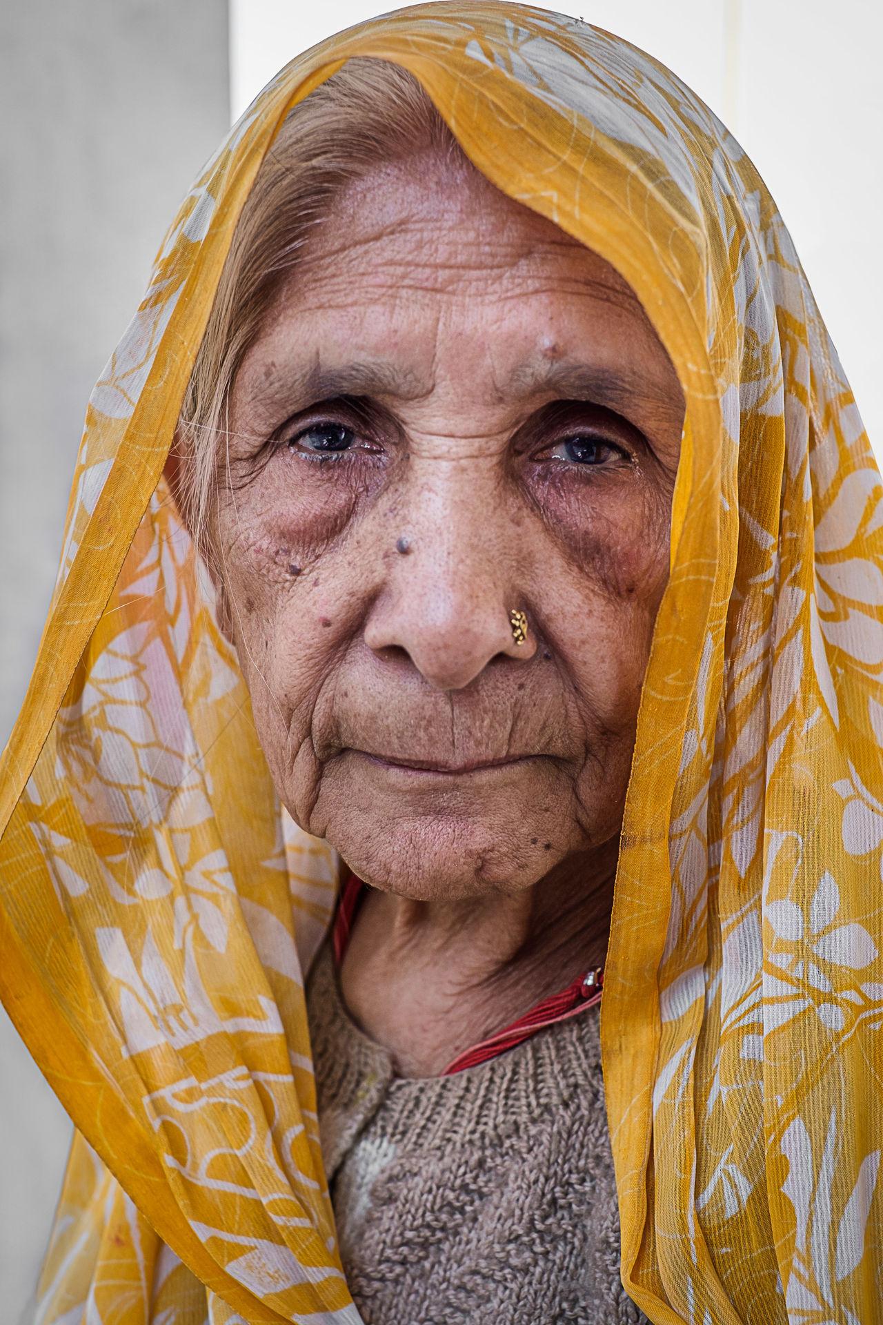 Indian Woman Varanasi India Old Women Sari