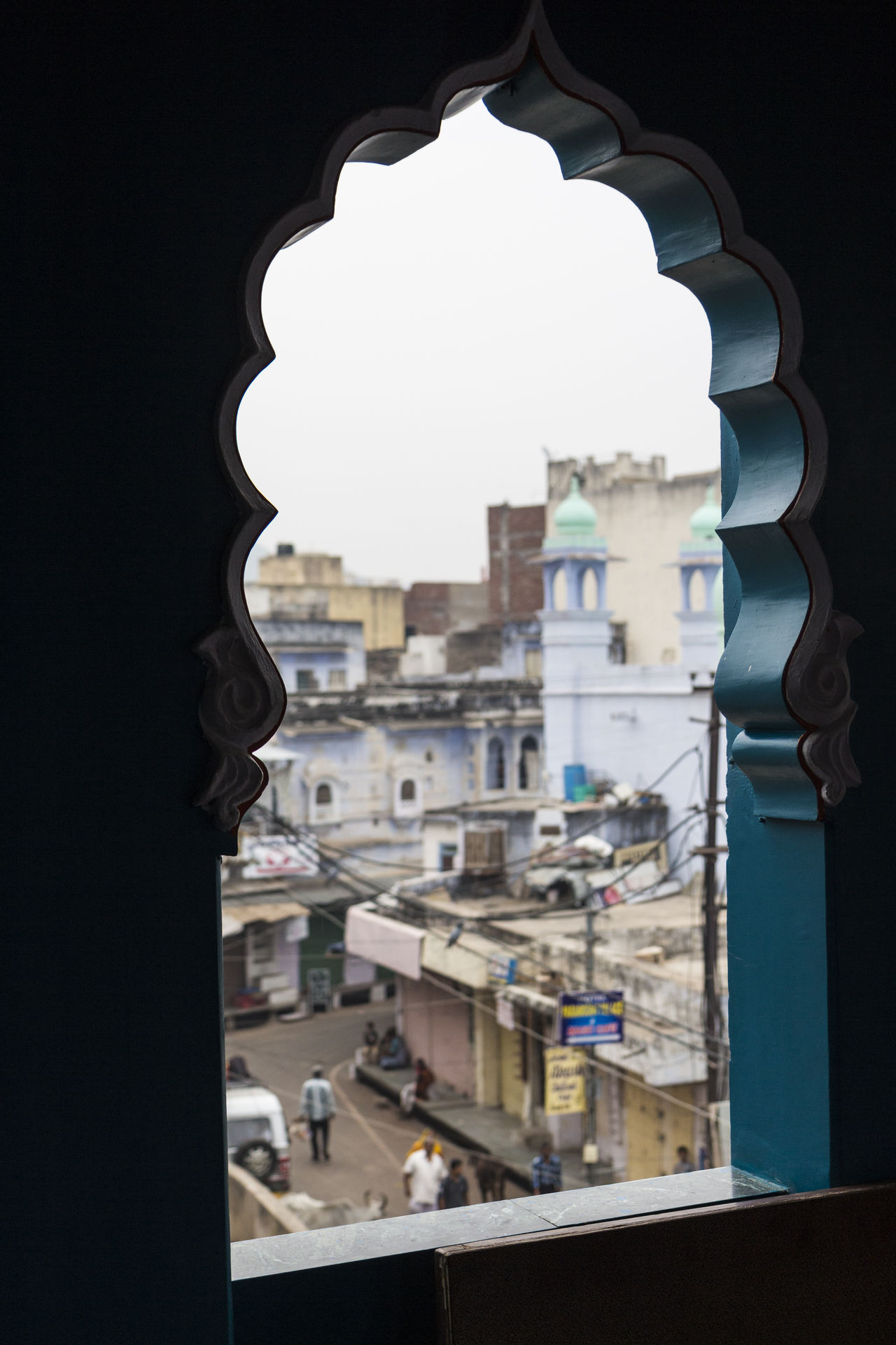 view of Pushkar city from art window Architecture Art Art Window City Day Exterior Hinduism Holy City Indiapictures Pushkar Residential District Residential Structure Tourism Travel Destination Window View