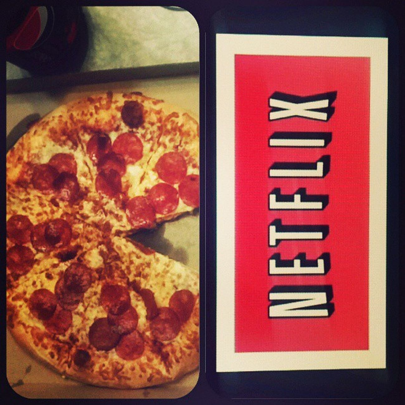 This is what dinner for one looks like. Dinnerforone Littlecaesers CherryPepsi Netflix Alone