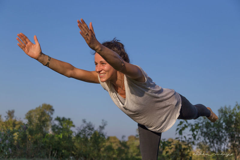 Adult Adults Only Balance Be Happy Blue Sky Cheerful Day Flying Happiness Motion One Person One Woman Only One Young Woman Only Only Women Open Heart Outdoors People Smiling Vitality Yoga Yoga Pose Yoga ॐ Yogagirl Young Adult Young Women