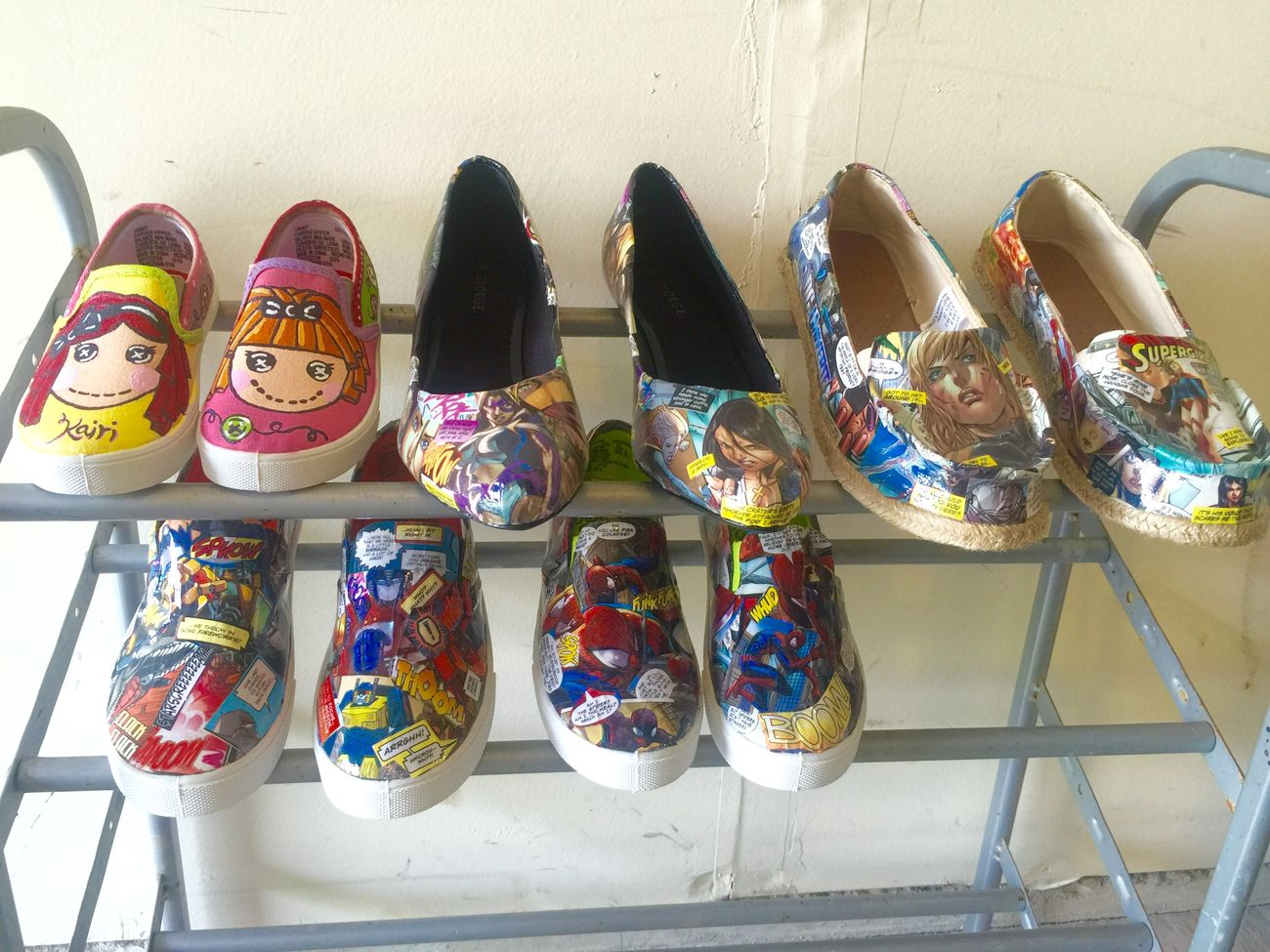 My growing inventory.. Everything handmade. :) Handmade Shoes Comic Painting Acrylic Lalaloopsy DC Comics Spiderman Transformers Comic Books