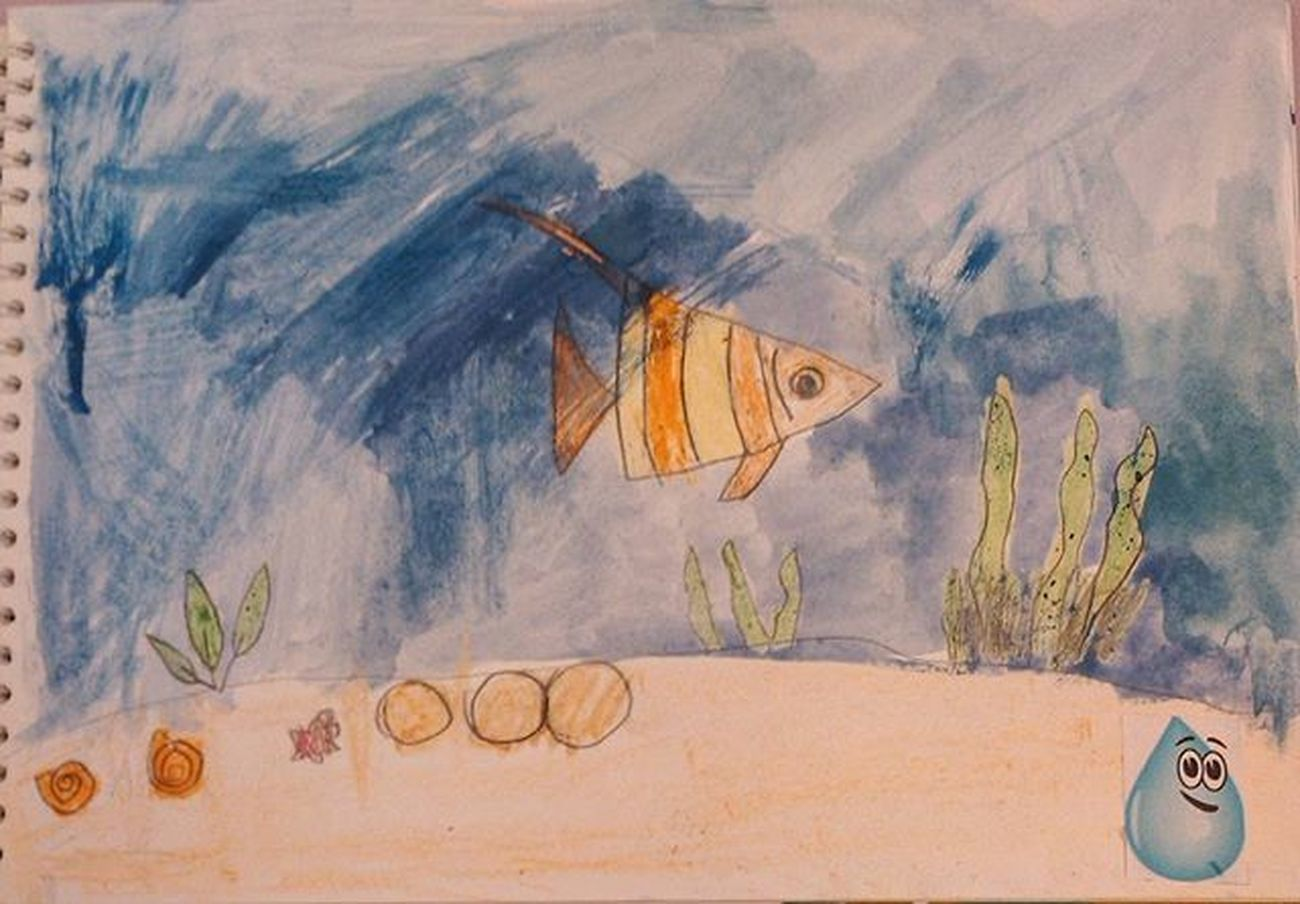 Полотно от Марины детскийрисунок рисунок рыбка краски  Picture Drawing Painting Piece Gouache Angelfish Fish Water Colors Colorful Color Colours Colourful Colour Blue Yellow Child