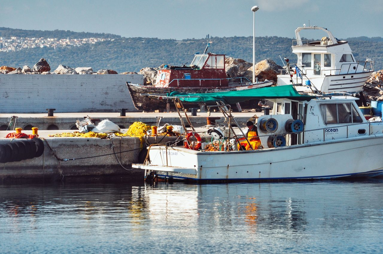 Fishing Port Fishing Boat Fisherman Local Life Islandlife Daily Life Localscene Fishing Time Nautical Vessel Moored Water Harbor People Waterfront Scenics Sailing Outdoors Sailboat - Greek Islands Chios Greece