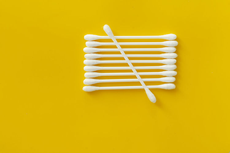 Care Clean Cotton Ear Equipment Health Hygienic Isolated Object Single Soft Stick Swab Yellow